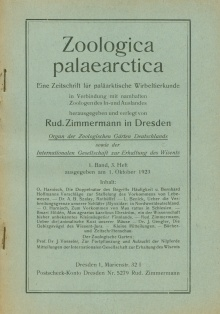 Cover: Zoologica palaearctica (1923), Heft 3